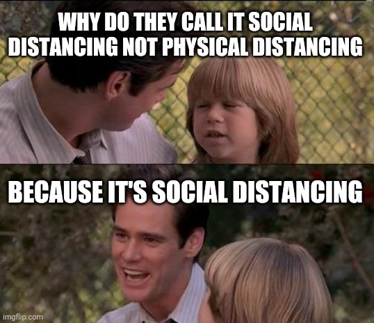 That's Just Something X Say Meme |  WHY DO THEY CALL IT SOCIAL DISTANCING NOT PHYSICAL DISTANCING; BECAUSE IT'S SOCIAL DISTANCING | image tagged in memes,that's just something x say | made w/ Imgflip meme maker