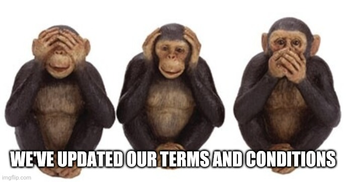 Hear no evil |  WE'VE UPDATED OUR TERMS AND CONDITIONS | image tagged in hear no evil | made w/ Imgflip meme maker