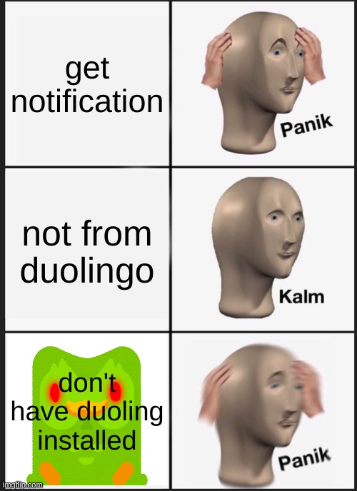 Panik Kalm Panik Meme | get notification not from duolingo don't have duoling installed | image tagged in memes,panik kalm panik | made w/ Imgflip meme maker
