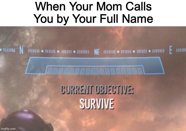 Current Objective: Survive |  When Your Mom Calls You by Your Full Name | image tagged in current objective survive | made w/ Imgflip meme maker