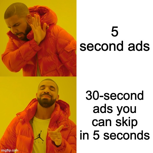 Relate |  5 second ads; 30-second ads you can skip in 5 seconds | image tagged in memes,drake hotline bling,relatable,funny,bruh,ads | made w/ Imgflip meme maker