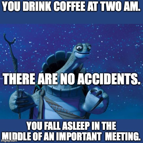 There are no accidents |  YOU DRINK COFFEE AT TWO AM. THERE ARE NO ACCIDENTS. YOU FALL ASLEEP IN THE MIDDLE OF AN IMPORTANT  MEETING. | image tagged in master oogway,j | made w/ Imgflip meme maker