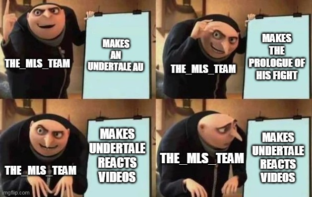 The_MLS_Team In a Nutshell |  MAKES AN UNDERTALE AU; MAKES THE PROLOGUE OF HIS FIGHT; THE_MLS_TEAM; THE_MLS_TEAM; MAKES UNDERTALE REACTS VIDEOS; MAKES UNDERTALE REACTS VIDEOS; THE_MLS_TEAM; THE_MLS_TEAM | image tagged in gru's plan | made w/ Imgflip meme maker