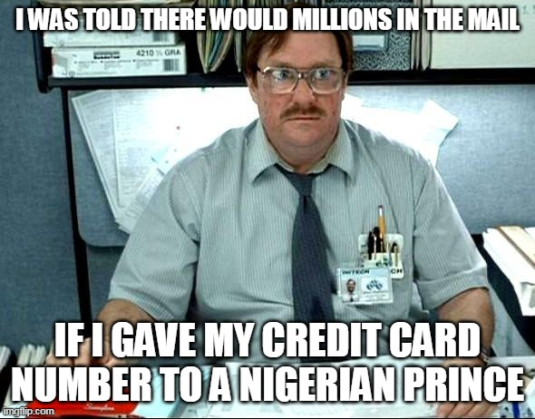 I Was Told There Would Be |  I WAS TOLD THERE WOULD MILLIONS IN THE MAIL; IF I GAVE MY CREDIT CARD NUMBER TO A NIGERIAN PRINCE | image tagged in memes,i was told there would be | made w/ Imgflip meme maker