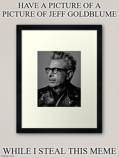 Jeff |  HAVE A PICTURE OF A PICTURE OF JEFF GOLDBLUME; WHILE I STEAL THIS MEME | image tagged in funny meme,jeff goldblum,joke,stealing memes,steal,funny | made w/ Imgflip meme maker