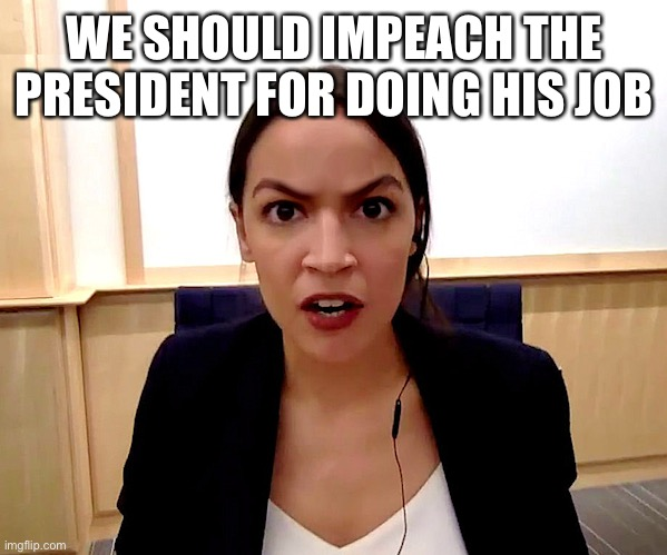 Alexandria Ocasio-Cortez | WE SHOULD IMPEACH THE PRESIDENT FOR DOING HIS JOB | image tagged in alexandria ocasio-cortez | made w/ Imgflip meme maker