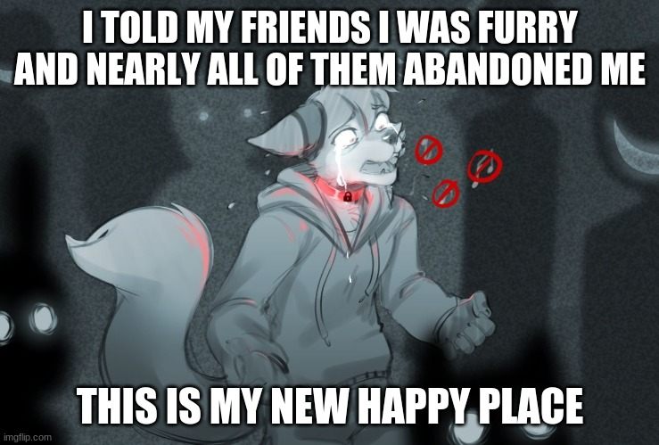 I TOLD MY FRIENDS I WAS FURRY AND NEARLY ALL OF THEM ABANDONED ME; THIS IS MY NEW HAPPY PLACE | image tagged in furry,furries | made w/ Imgflip meme maker