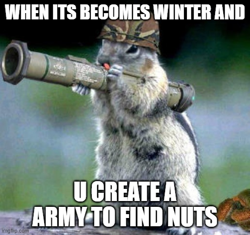 deez nutz be hard to find |  WHEN ITS BECOMES WINTER AND; U CREATE A ARMY TO FIND NUTS | image tagged in memes,bazooka squirrel | made w/ Imgflip meme maker