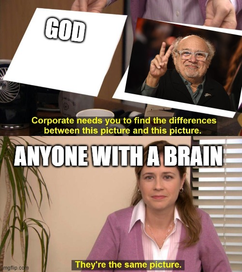 Danny Devito |  GOD; ANYONE WITH A BRAIN | image tagged in they are the same picture | made w/ Imgflip meme maker