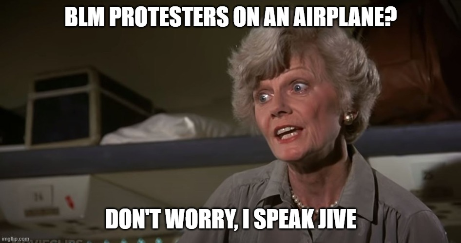 I speak jive meme |  BLM PROTESTERS ON AN AIRPLANE? DON'T WORRY, I SPEAK JIVE | image tagged in black lives matter,blm,airplane memes,jive,jive memes,blm memes | made w/ Imgflip meme maker