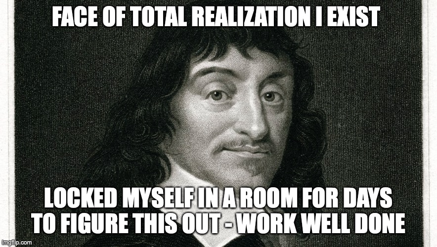 René Descartes Realizes He Exists |  FACE OF TOTAL REALIZATION I EXIST; LOCKED MYSELF IN A ROOM FOR DAYS TO FIGURE THIS OUT - WORK WELL DONE | image tagged in existence,descartes,sudden realization,realization,men,the room | made w/ Imgflip meme maker