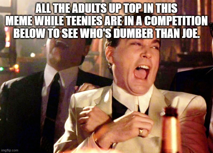 Good Fellas Hilarious Meme | ALL THE ADULTS UP TOP IN THIS MEME WHILE TEENIES ARE IN A COMPETITION BELOW TO SEE WHO'S DUMBER THAN JOE. | image tagged in memes,good fellas hilarious | made w/ Imgflip meme maker