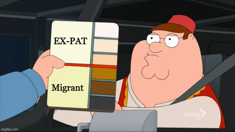 Image: Peter Griffin Scale Meme showing light skin tones as Ex-Pats, and Migrants as those with darker skin tones.