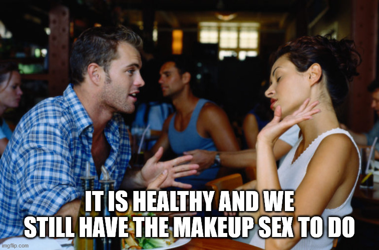Arguing Couple | IT IS HEALTHY AND WE STILL HAVE THE MAKEUP SEX TO DO | image tagged in arguing couple | made w/ Imgflip meme maker