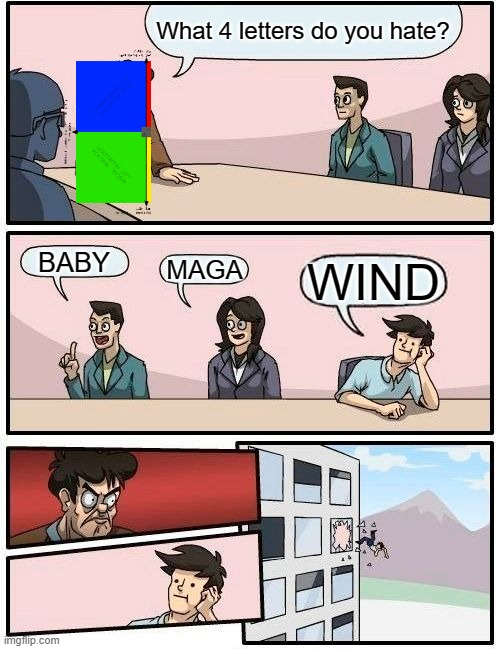 Leftist hate |  What 4 letters do you hate? BABY; MAGA; WIND | image tagged in memes,boardroom meeting suggestion,abortion is murder,maga,wind,leftists | made w/ Imgflip meme maker