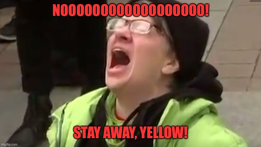 Screaming Liberal  | NOOOOOOOOOOOOOOOOOO! STAY AWAY, YELLOW! | image tagged in screaming liberal | made w/ Imgflip meme maker