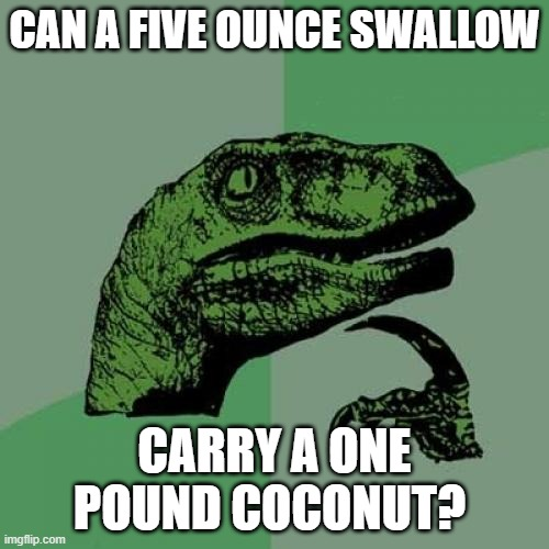 European or African? |  CAN A FIVE OUNCE SWALLOW; CARRY A ONE POUND COCONUT? | image tagged in memes,philosoraptor,monty python and the holy grail,science | made w/ Imgflip meme maker