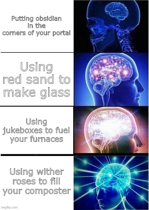 u l t i m a t e f l e x |  Putting obsidian in the corners of your portal; Using red sand to make glass; Using jukeboxes to fuel your furnaces; Using wither roses to fill your composter | image tagged in memes,expanding brain,minecraft,flex | made w/ Imgflip meme maker