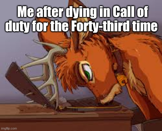 Fursona memes |  Me after dying in Call of duty for the Forty-third time | made w/ Imgflip meme maker
