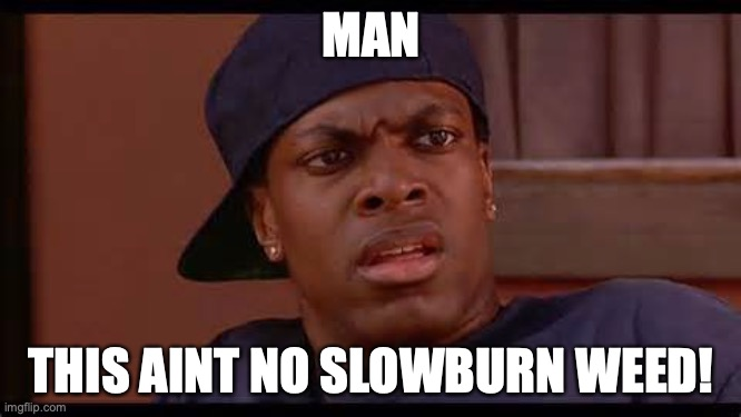 MAN; THIS AINT NO SLOWBURN WEED! | image tagged in smokey from friday chris tucker | made w/ Imgflip meme maker
