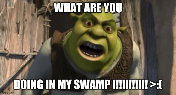 OK |  WHAT ARE YOU; DOING IN MY SWAMP !!!!!!!!!!! >:( | image tagged in shrek what are you doing in my swamp | made w/ Imgflip meme maker