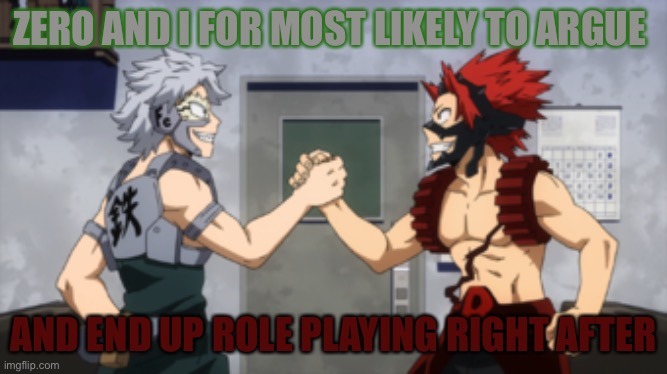ZERO AND I FOR MOST LIKELY TO ARGUE; AND END UP ROLE PLAYING RIGHT AFTER | made w/ Imgflip meme maker
