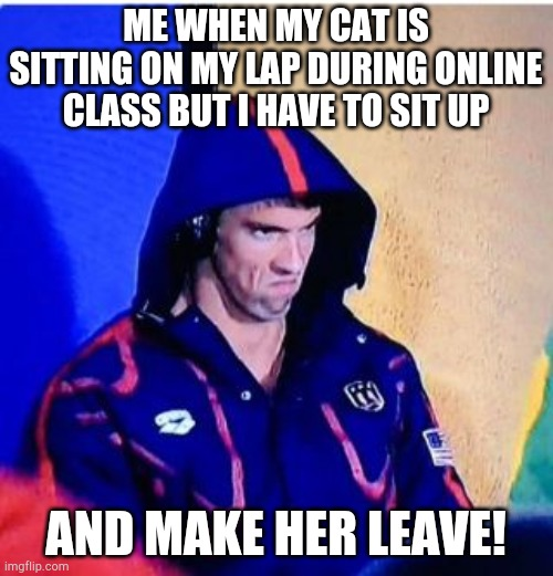 Michael Phelps Death Stare |  ME WHEN MY CAT IS SITTING ON MY LAP DURING ONLINE CLASS BUT I HAVE TO SIT UP; AND MAKE HER LEAVE! | image tagged in memes,michael phelps death stare | made w/ Imgflip meme maker