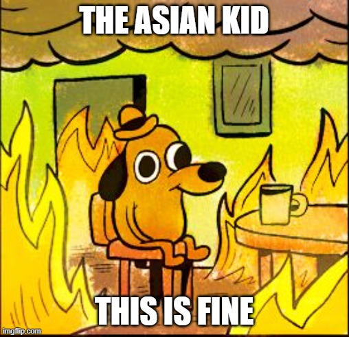 This is fine | THE ASIAN KID THIS IS FINE | image tagged in this is fine | made w/ Imgflip meme maker