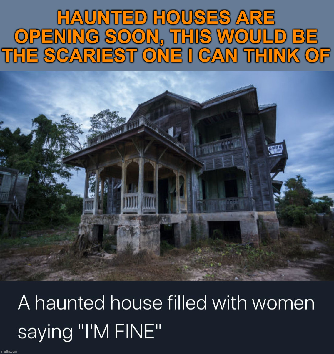 Makes me shake in my shoes to even think about it. |  HAUNTED HOUSES ARE OPENING SOON, THIS WOULD BE THE SCARIEST ONE I CAN THINK OF | image tagged in haunted house,i'm fine,women,scary | made w/ Imgflip meme maker