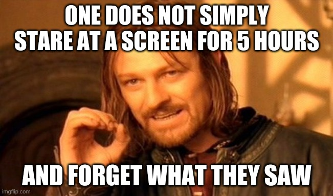 Screen Time |  ONE DOES NOT SIMPLY STARE AT A SCREEN FOR 5 HOURS; AND FORGET WHAT THEY SAW | image tagged in memes,one does not simply | made w/ Imgflip meme maker