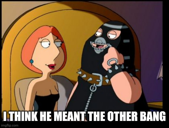 I THINK HE MEANT THE OTHER BANG | image tagged in lois dominatrix | made w/ Imgflip meme maker