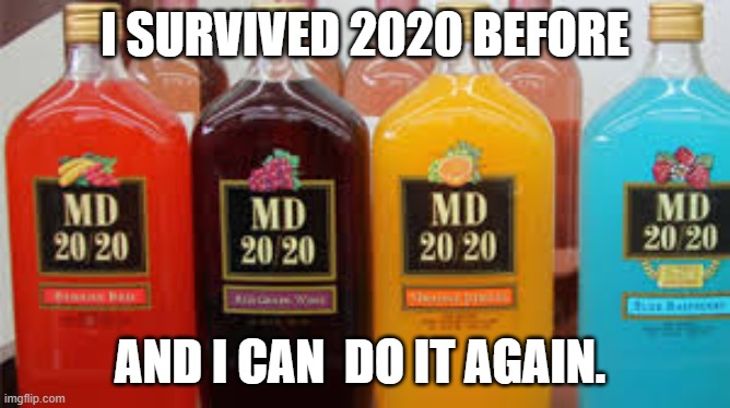If the year 2020 was a cheap nasty booze...oh wait... |  I SURVIVED 2020 BEFORE; AND I CAN  DO IT AGAIN. | image tagged in 2020 | made w/ Imgflip meme maker