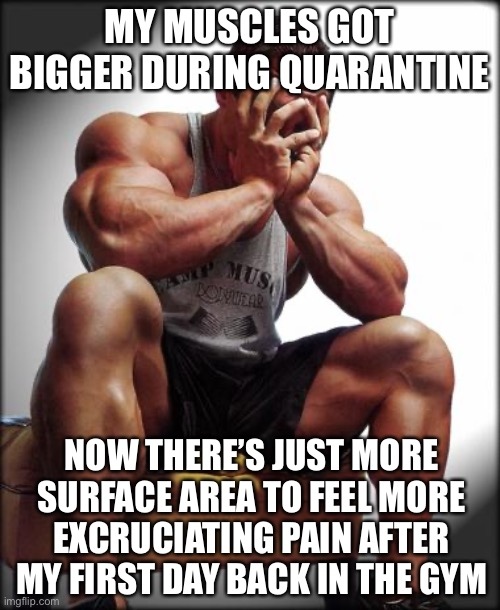 Depressed Bodybuilder |  MY MUSCLES GOT BIGGER DURING QUARANTINE; NOW THERE'S JUST MORE SURFACE AREA TO FEEL MORE EXCRUCIATING PAIN AFTER MY FIRST DAY BACK IN THE GYM | image tagged in depressed bodybuilder,bodybuilding,weight lifting,do you even lift | made w/ Imgflip meme maker