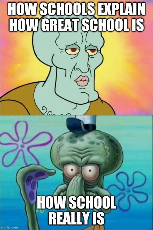 Squidward |  HOW SCHOOLS EXPLAIN HOW GREAT SCHOOL IS; HOW SCHOOL REALLY IS | image tagged in memes,squidward | made w/ Imgflip meme maker