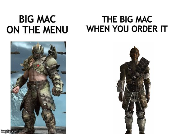 Fallout doom vegas |  THE BIG MAC WHEN YOU ORDER IT; BIG MAC ON THE MENU | image tagged in blank white template | made w/ Imgflip meme maker