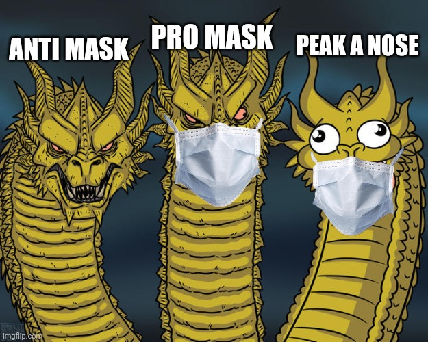 Peak a nose |  PRO MASK; PEAK A NOSE; ANTI MASK | image tagged in three-headed dragon | made w/ Imgflip meme maker