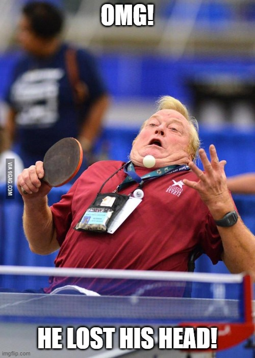 Ping pong flub | OMG! HE LOST HIS HEAD! | image tagged in ping pong flub | made w/ Imgflip meme maker