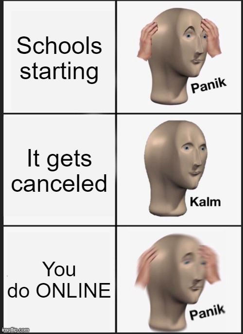AHHHHHHHHHHHHHHHHHHHHHHHHHHHHHHHHHHHHHHHHHHHHHHH |  Schools starting; It gets canceled; You do ONLINE | image tagged in memes,panik kalm panik,ahhhhh,online school,bullshit,spooky | made w/ Imgflip meme maker