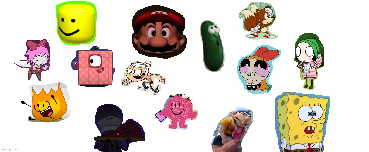 Photoshop Collage | image tagged in photoshop,kirby,bfdi,spongebob,inanimate insanity,crossover | made w/ Imgflip meme maker