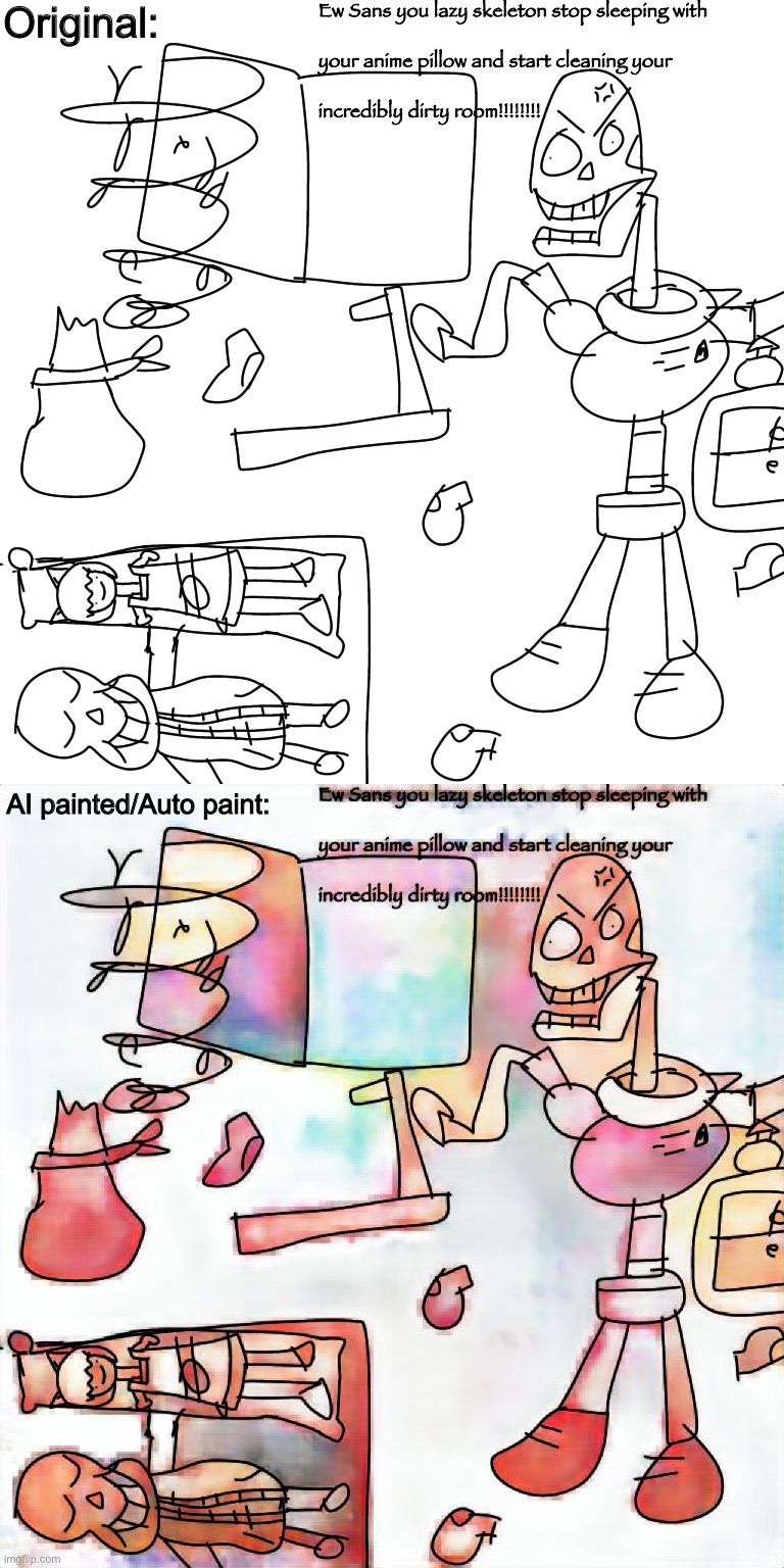 "So i decide to do an AI paint/Auto paint my silly drawing... now i just need to think it was ""Auto Pain"" 