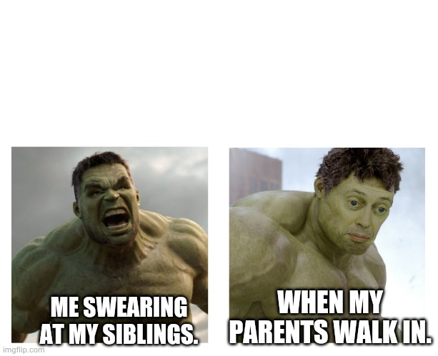 Hulk angry then realizes he's wrong |  WHEN MY PARENTS WALK IN. ME SWEARING AT MY SIBLINGS. | image tagged in hulk angry then realizes he's wrong | made w/ Imgflip meme maker