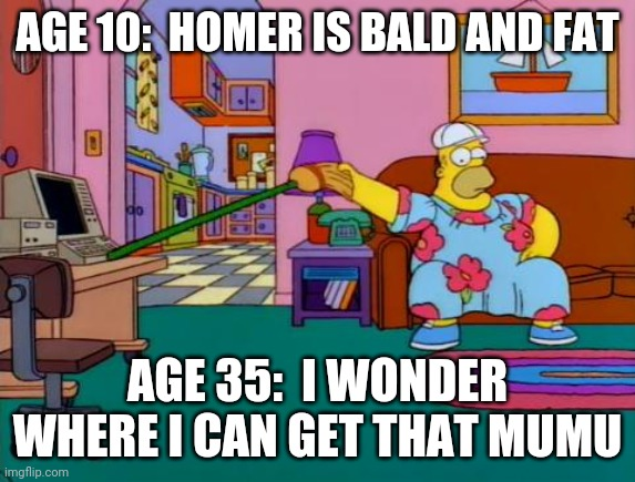 And so it goes... |  AGE 10:  HOMER IS BALD AND FAT; AGE 35:  I WONDER WHERE I CAN GET THAT MUMU | image tagged in working from home homer,bald,fat,simpsons,work,old | made w/ Imgflip meme maker