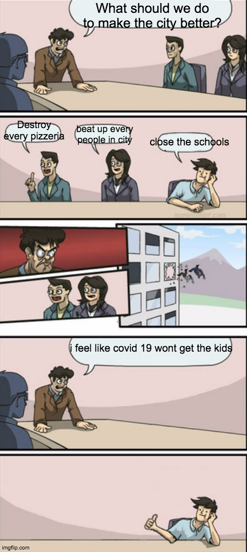 online class xD |  What should we do to make the city better? Destroy every pizzeria; beat up every people in city; close the schools; i feel like covid 19 wont get the kids | image tagged in board room meeting 2 | made w/ Imgflip meme maker