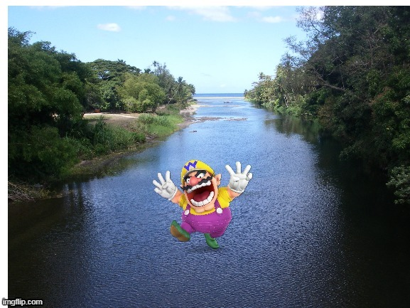 wario jumps into a river and drowns. mp3 | image tagged in memes,funny,wario,river | made w/ Imgflip meme maker