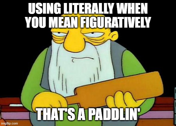 Literally a paddlin' |  USING LITERALLY WHEN YOU MEAN FIGURATIVELY; THAT'S A PADDLIN' | image tagged in memes,that's a paddlin',literally,figuratively,grammar,bad grammar and spelling memes | made w/ Imgflip meme maker