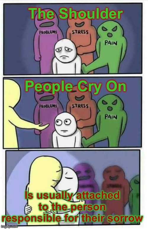 Hug meme |  The Shoulder; People Cry On; Is usually attached to the person responsible for their sorrow | image tagged in hug meme,truth,facts,so true,real life | made w/ Imgflip meme maker