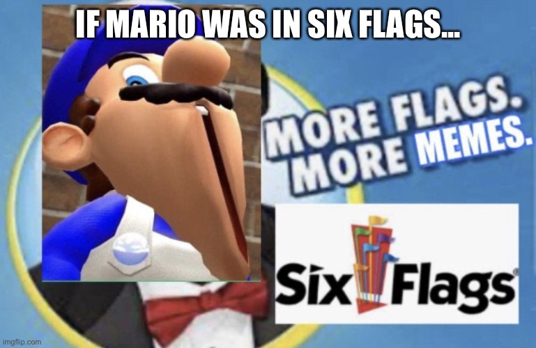 More Flags. More Memes. (SMG4 Edition) |  IF MARIO WAS IN SIX FLAGS... | image tagged in more flags more memes smg4 edition,six flags,glitch productions,if mario was in | made w/ Imgflip meme maker