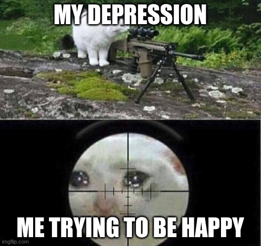 Sniper cat |  MY DEPRESSION; ME TRYING TO BE HAPPY | image tagged in sniper cat | made w/ Imgflip meme maker