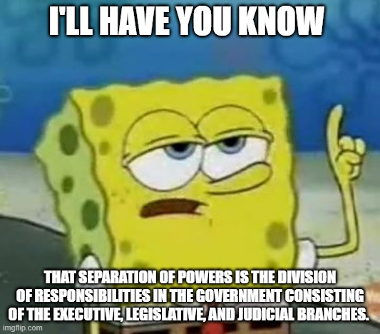 I'll Have You Know Spongebob |  I'LL HAVE YOU KNOW; THAT SEPARATION OF POWERS IS THE DIVISION OF RESPONSIBILITIES IN THE GOVERNMENT CONSISTING OF THE EXECUTIVE, LEGISLATIVE, AND JUDICIAL BRANCHES. | image tagged in memes,i'll have you know spongebob | made w/ Imgflip meme maker