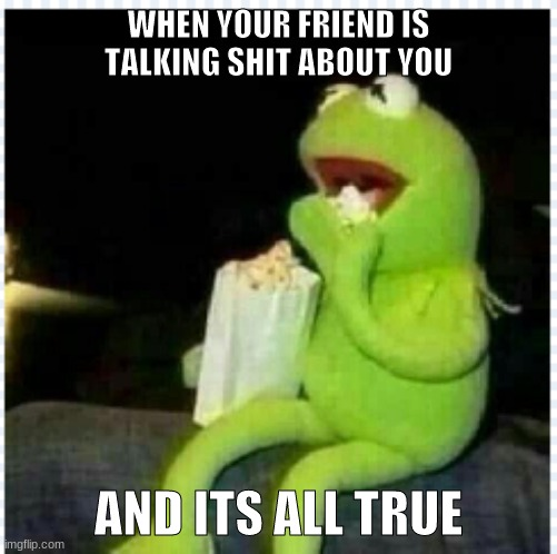 WHEN YOUR FRIEND IS TALKING SHIT ABOUT YOU; AND ITS ALL TRUE | image tagged in kermit,struggle,this is me not caring | made w/ Imgflip meme maker